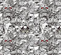 Scary Skull Black White Sticker Bomb Vinyl Wrapping Film Decal For Car Wraps Film Air Bubble Free Size:1.50*30m/Roll
