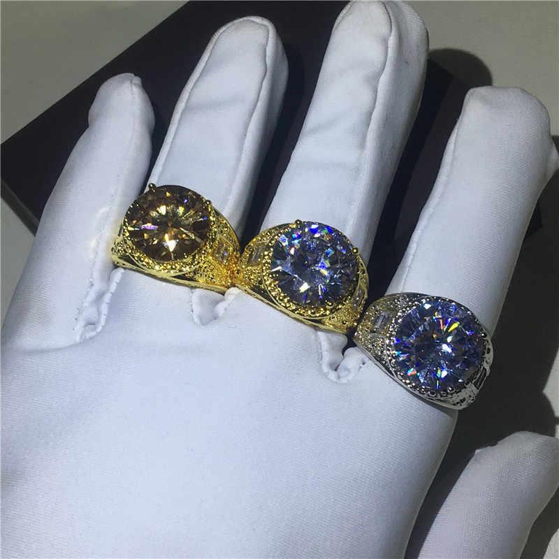 Choucong Luxury ชาย VINTAGE แหวนใหญ่ 10ct AAAAA zircon หินสีเหลืองทอง Filled PARTY งานแต่งงานแหวนผู้ชายลายนิ้วมือเครื่องประดับ