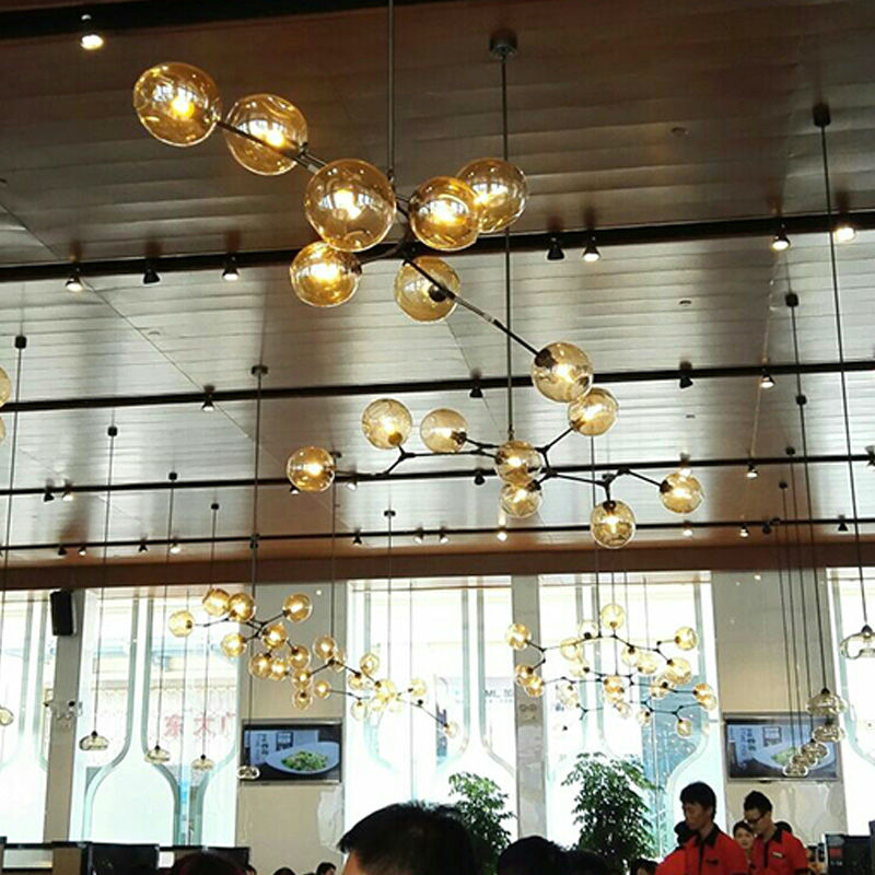 Retro Pendant Lights Fixture For Living Room Glass Ball Lamp Shades Black Metal Dining