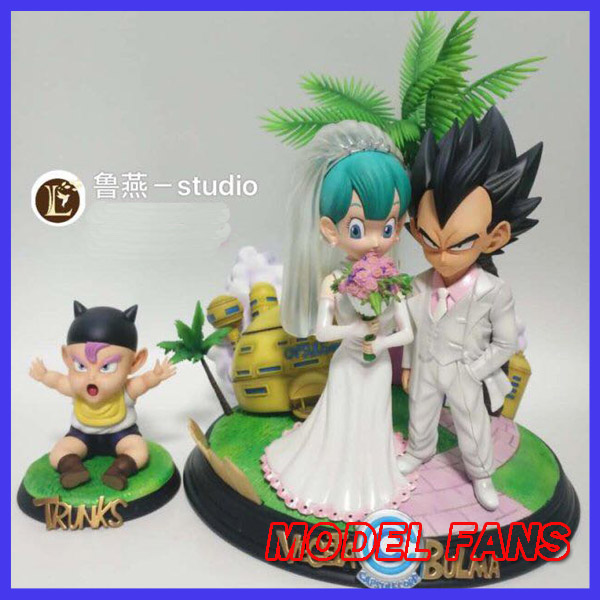 MODEL FANS IN-STOCK  Dragon Ball Z 25cm sd Vegeta and Bulma get married contain childhood Trunks gk resin statue for model fans in stock dragon ball z 35cm super saiyangoku and time house gk resin statue figure for collection