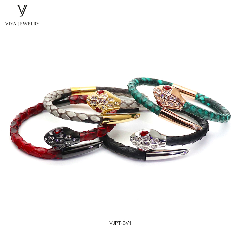 VJPT-BV1---Python leather snake bracelet ,fashion snake head Python leather bracelet,charms snake bracelet women men (35)