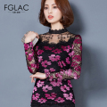 FGLAC Women blouses 2017 Spring Fashion Casual long sleeved lace shirt Sexy Hollow out women tops plus size women clothing