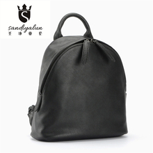 2016 New Soft Genuine Leather Woman Backpack Fashion Black Backpacks With Knitting Strap Concise School Bags For Teenager Girls