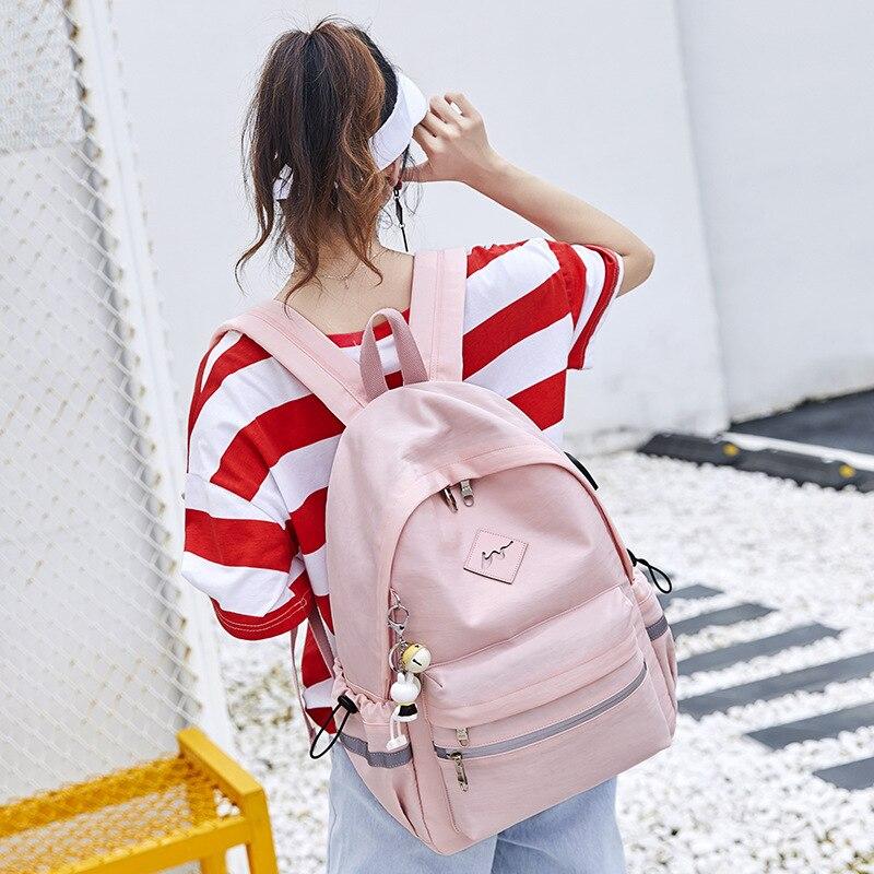 WINNER 2018 Girl Anti Theft Backpack USB Charging Cartoon Animal Pendant School Bags Backpack Women Waterproof Travel Bagpack