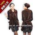 Chaleco de piel de visón de punto de visón chaleco swallowtail modelos cinturón y cuello de volantes cuello traje