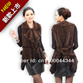 Knitted mink fur vest mink fur vest swallowtail models flounced collar belt and collar suit
