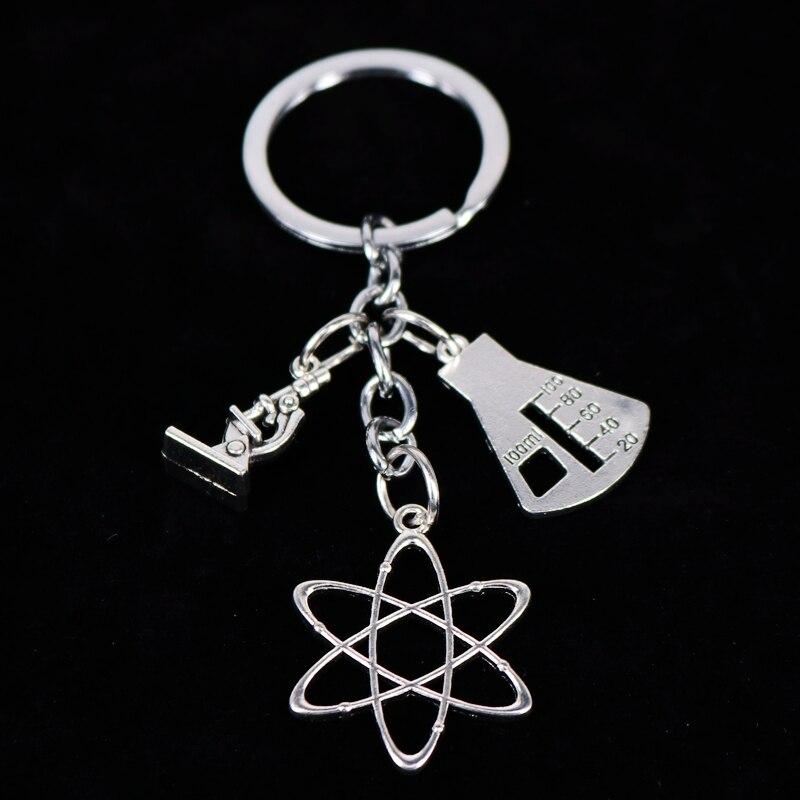 1 шт. Apple талисманы слова микроскоп биологический уникальный, брелки для ключей, Пособия по биологии химии учителя подарок кольцо для ключей