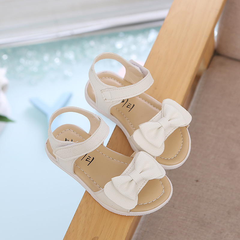New Summer Sandals Bow-tie Children Shoes Girls Sandals Baby Korean Party Princess Soft Beach Shoes Solid for 2-6 years old