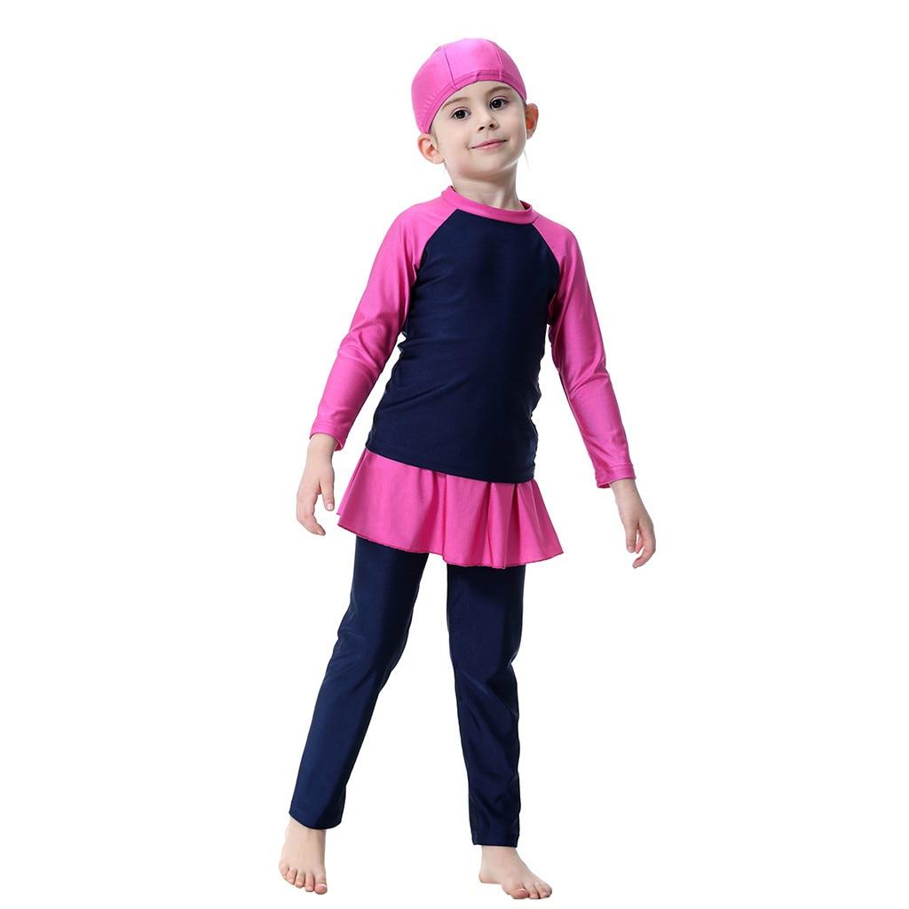 TELOTUNY/3 предмета, Быстросохнущий купальный костюм для маленьких девочек Купальник с длинным рукавом, купальный костюм для купания Z0102 - Цвет: NY