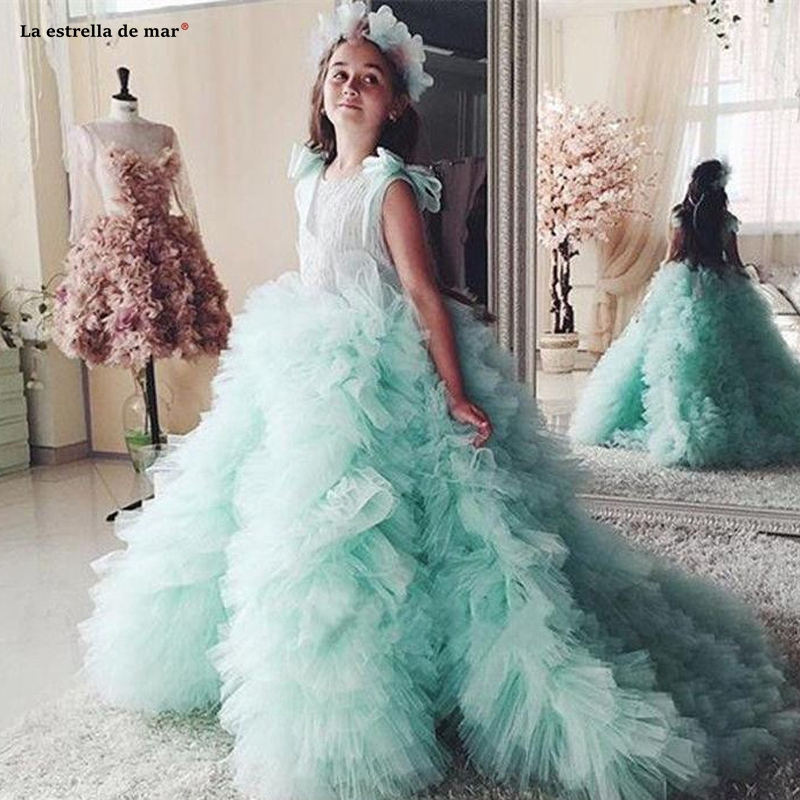 Pageant Dresses For Girls 2020 New Scoop Neck Lace Tulle A Line Mint Green Flower Girl Dresses Trailing Communion Dresses