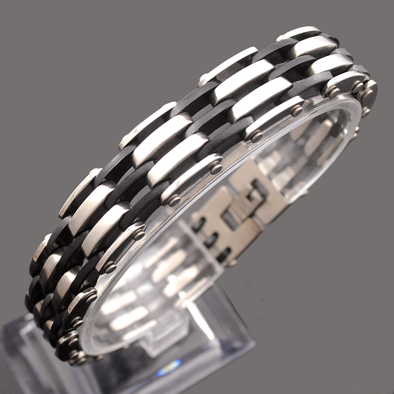 2018 Jewelry Bracelet Rubber Fence Design For Mens Stainless Steel