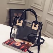 Women Clear Transparent Shoulder Bag Jelly Candy Summer Beach Handbag Woman for 2019  Messenger Bags Black