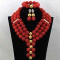 Rojo Bolas de Novia Africana Joyería Conjunto Indio Nigeriano Beads Boda Conjunto Collar de la Declaración 2017 Nuevo Envío Libre WA575