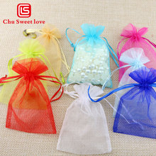 10x15cm Explosion Drawstring Bag Transparent Hard Yarn Jewelry Wedding Christmas Gift Candy 100pcs