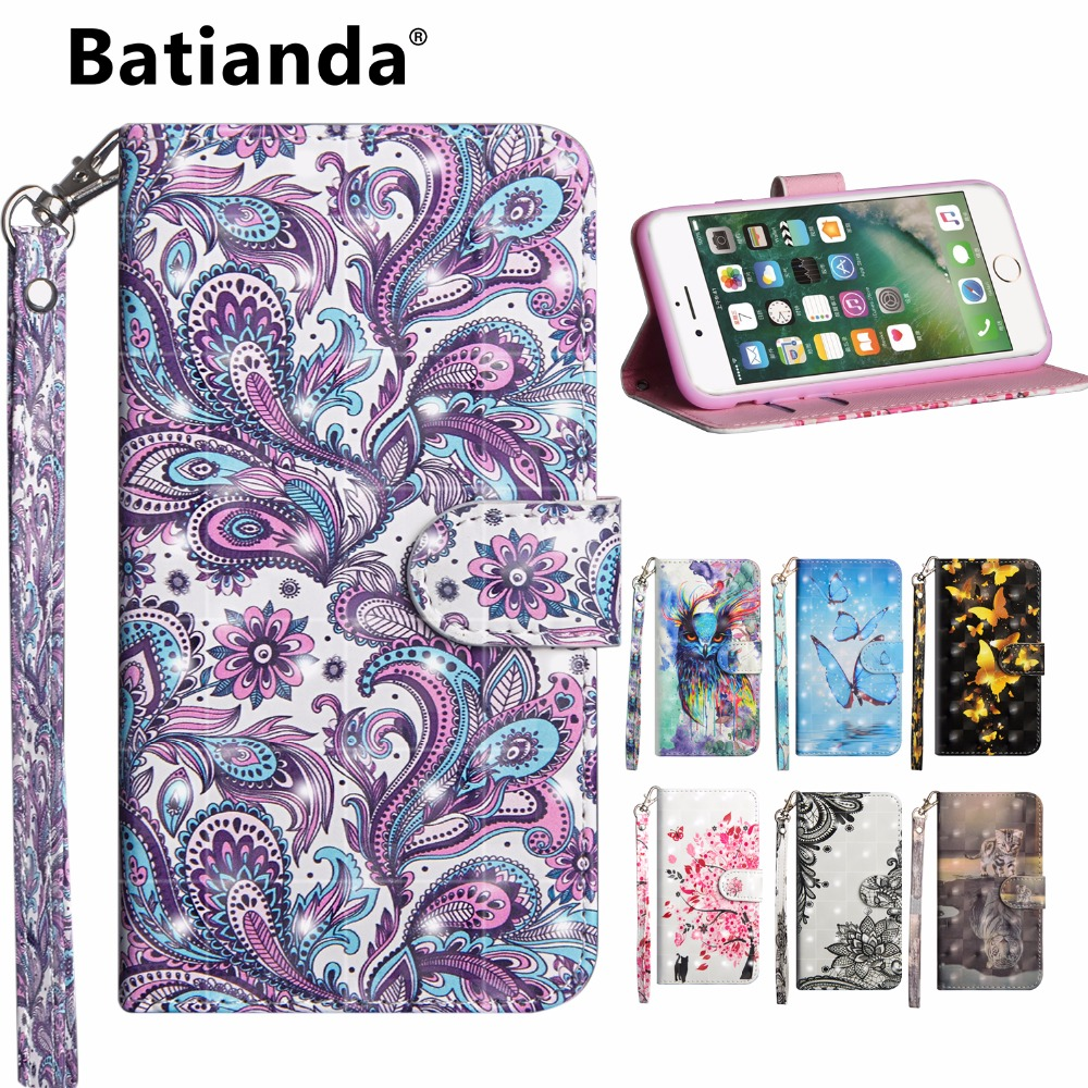 Wallet Case for iPhone 6 6S Smartphone Cover Filp Slim Print Leather Stand Phone Bag Magnetic+Card Holder Case for iphone 6 s