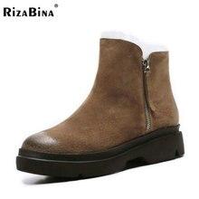 Rizabina Для женщин; зимние ботинки с Обувь на теплом меху внутри feminina из натуральной кожи обувь на толстой платформе Для женщин теплые Ботинки размеры 34–39