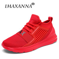 IMAXANNA Breathable Running Shoes For Man Black White Sport Shoes Men Sneakers Zapatos corrientes de verano Red chaussure