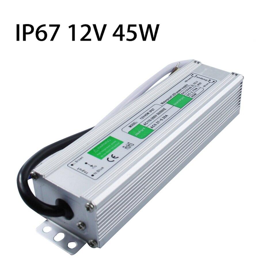 DC 12V 45W IP67 Waterproof LED Driver AC100 260V To DC 12V ...