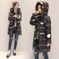 2016 New Fashion Winter Women Cotton Padded Jacket Women Slim Thick Warm Stars Print Female Coat Winter Long Overcoat B738