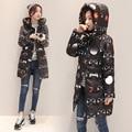 2016 New Fashion Winter Women Cotton Padded Jacket Women Slim Thick Warm Stars Print Female Coat Winter Long Overcoat B738