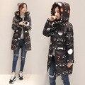 2016 Nova Moda Inverno Mulheres De Algodão Acolchoado Jaqueta Mulheres Estrelas Impressão Fino de Espessura Quente Casaco de Inverno Longo Casaco Feminino B738