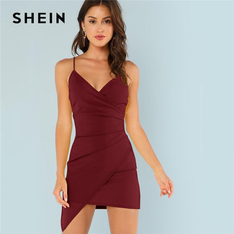 SHEIN Burgundy Ruched Side Asymmetrical Hem Cami Dress Elegant Solid Sheath Mini Dress Autumn Modern Lady Women Party Dresses