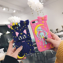 Cartoon Anime Sailor Moon case For Apple iphone 8 8 Plus Soft TPU Silicone Case For iphone X Cute silicone cat back case cover ziqiao cute cartoon cat shaped protective soft silicone back case for iphone 4 4s red blue