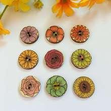 50pcs 20mm Round Shape Natural Wood Buttons Printed vintage flower 2 Holes Sewing Scrapbooking Crafts botones decorativos
