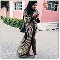 Мусульманские женщины одеваются S-2XL размер печати халат мусульманского Дубай Abayas Турецкие Дамы Одежда Женщины Арабских Дамы Кафтан-Кафтан Малайзия