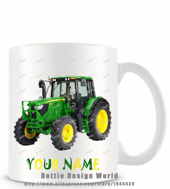 2017 New Custom Green tractor funny novelty travel mug Ceramic white coffee tea milk cup Personalized Birthday Easter gifts 11oz