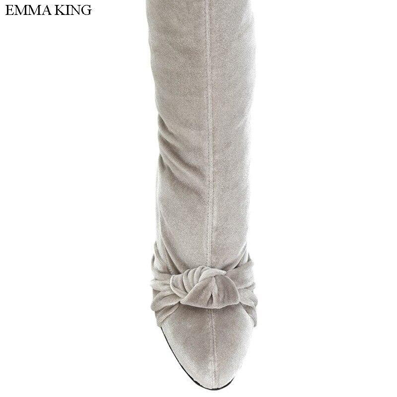 Embout Mode Mince Talons Bottes As De Nouveau Sur Le Roi Emma Partie Soirée Picture À Noeud Pointu Cuisse Hauts 2018 Haute Genou Femme Papillon A1fwS