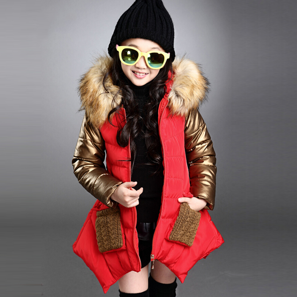 ФОТО 2016 Girl 100% down winter jackets coat long model extra thick warm Children's winter clothing Outerwear &Coats duck down jacket