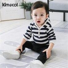 Kimocat одежда для маленьких мальчиков с капюшоном в синюю полоску