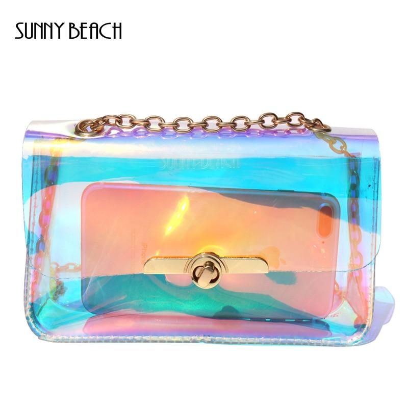 SUNNY BEACH Transparent Hologram laser Bag Women Hand Clutches PVC ladi