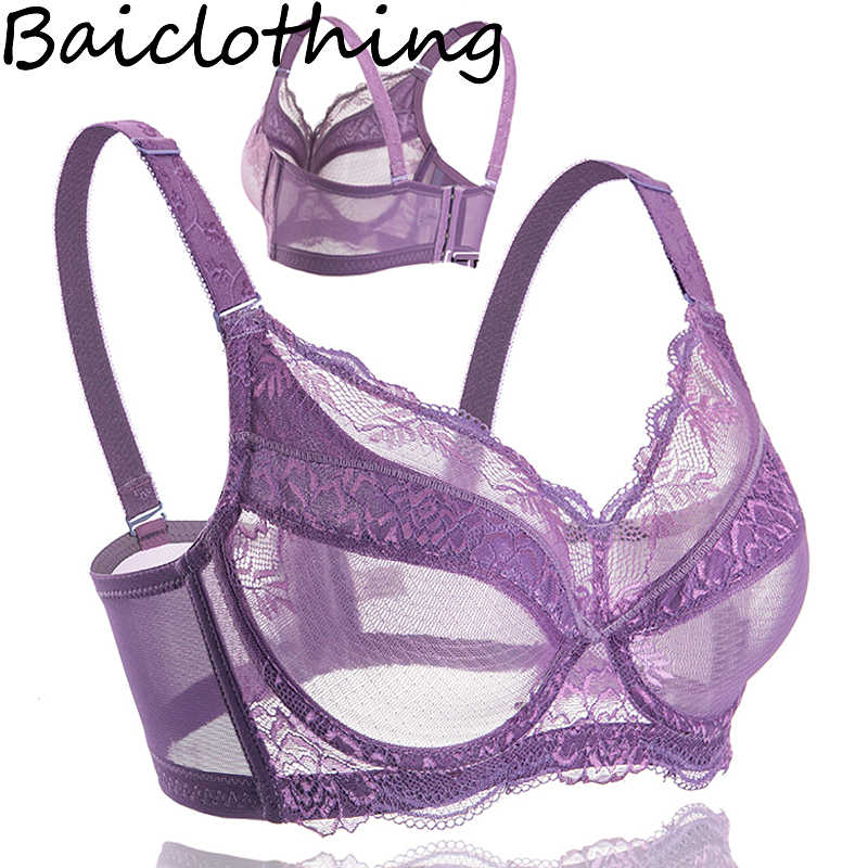 Baiclothing Comfortable Women's Full Coverage Underwire Lace Big Size Lace Bra Women Lingerie 34 36 38 40 42 44 46 48 B C D E F