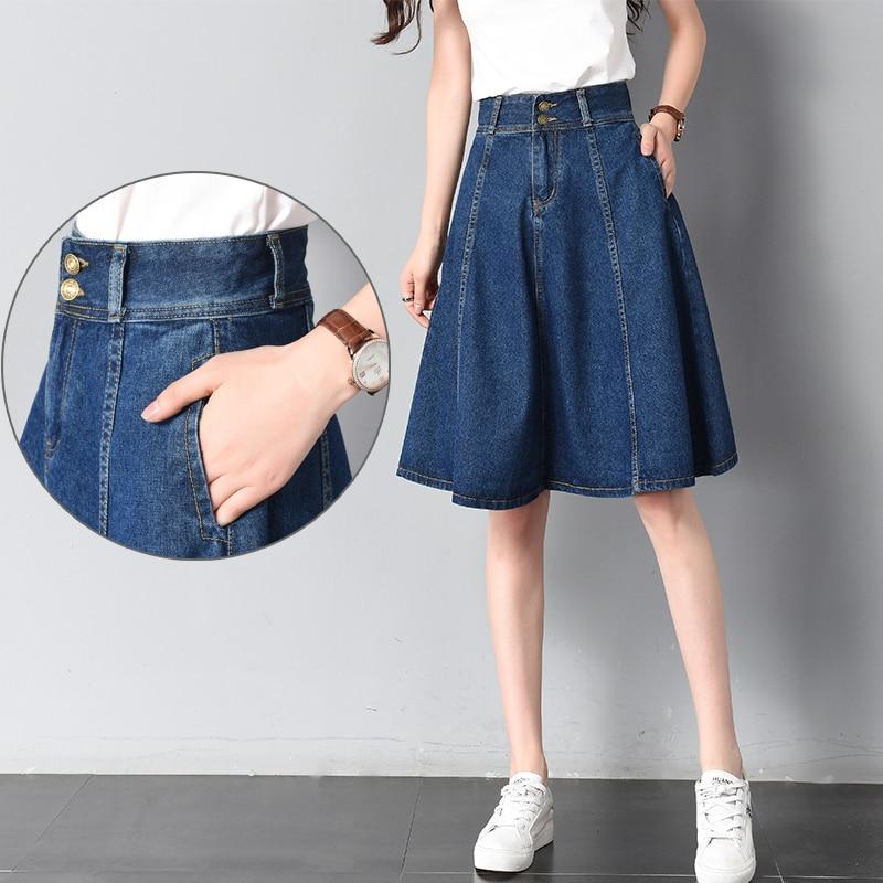 Женская джинсовая юбка с высокой талией, летняя юбка с карманами, женская повседневная юбка в Корейском стиле