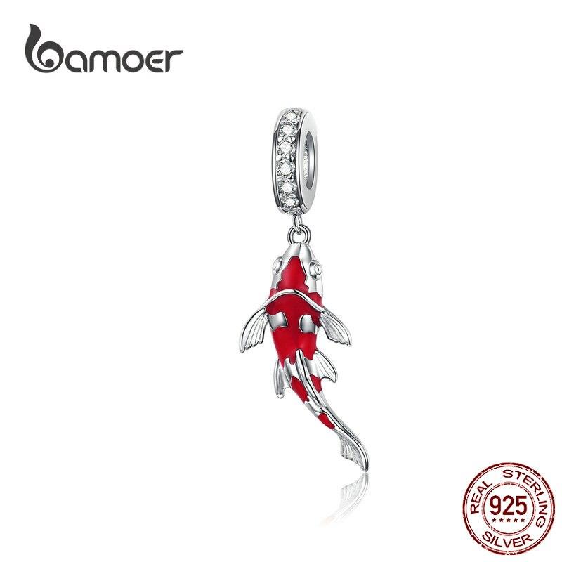 Bamoer sorte peixe pingente para colar 925 prata esterlina esmalte carpa charme para mulheres cobra pulseira diy jóias fazendo bsc085