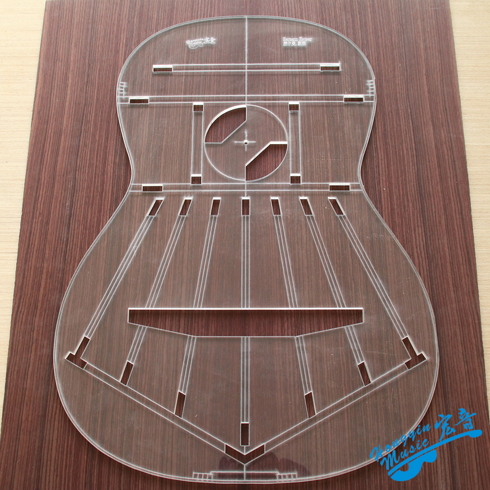 1 Pcs Famous Guitar Transparent Acrylic Template Guitar Making Molds Appearance Sound Hole Sound Beam Location Map