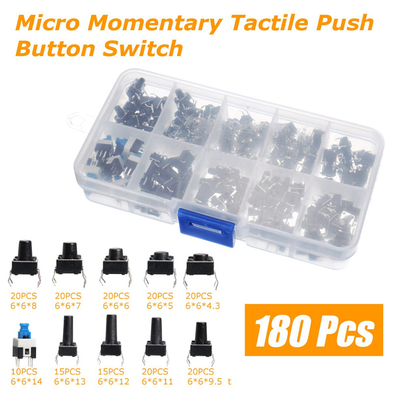 10Value 180PCS Ocr TM Tactile Push Button Switch Micro Momentary Tact Assortment Switch Universal Switch Box 50pcs 6x6x4 3mm tactile push button switch 4 pins micro switch 4 pin dip momentary touch switch