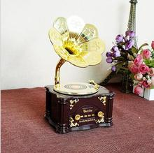 Retro Nostalgia Music Box Gramophone Model Shops &Bars Decorations Creative Crafts Gifts13*13*22CM