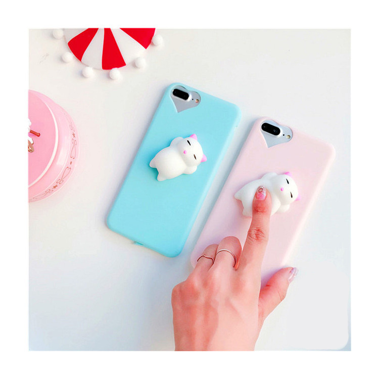 3D Soft Silicone <font><b>Squishy</b></font> <font><b>Phone</b></font> <font><b>Case</b></font> for <font><b>iPhone</b></font> 6 6s Plus 7 7Plus 5 <font><b>5s</b></font> <font><b>Case</b></font> Finger Pinch Panda Pappy Cat Seal Kitty Cover Coque