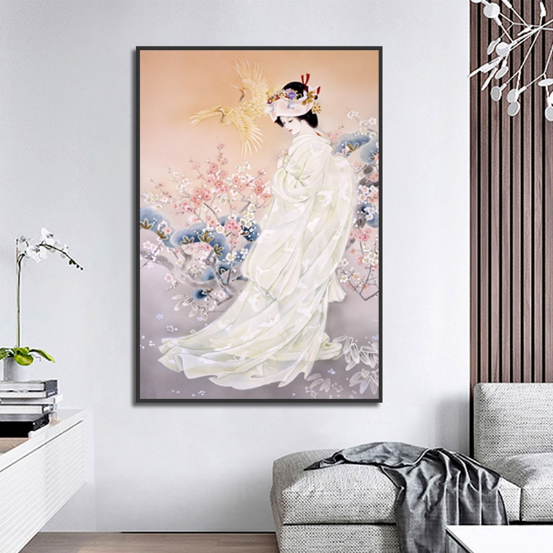 Vintage Art Beautiful Painting Girl And Flower Poster Print Canvas Home Wall Decoration Murale De Luxe Big Picture