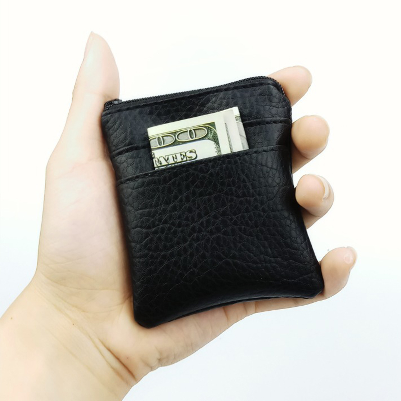 BLEVOLO Black Short Section Men Wallets PU Leather Coin Purse Key Coin Pocket Purses Soft Zipper Square Wallet Male Money Bag cartoon japan anime one piece luffy wallet with money coin pocket zipper leather pu purse