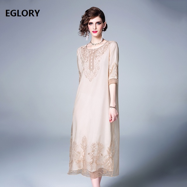 Top Quality New 2019 Summer Fashion Organza Embroidery Dress Women O-Neck 3/4 Sleeve Midi Party Vintage Dress Green Apricot XXL