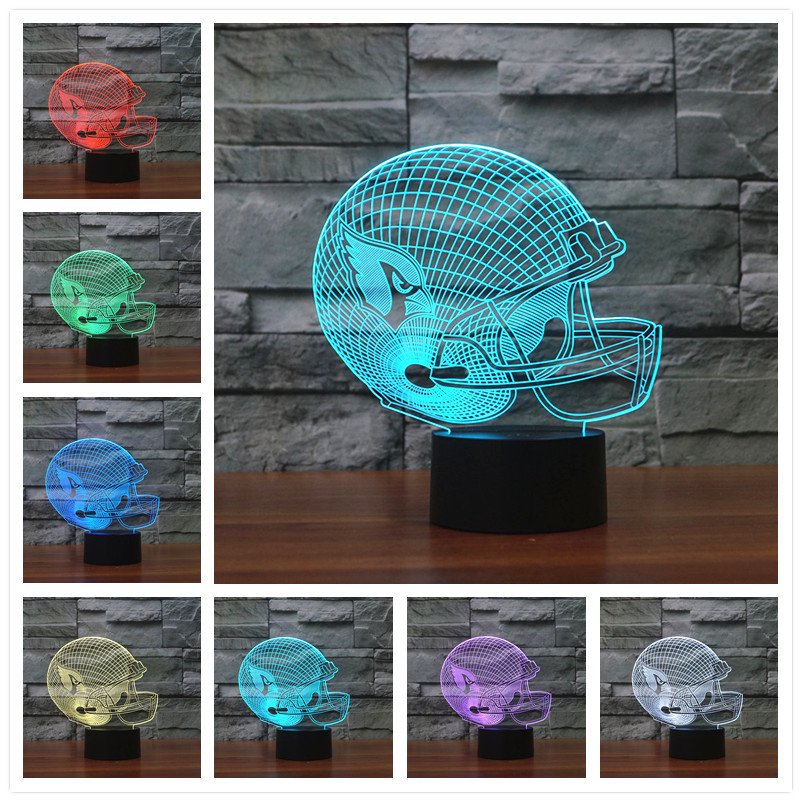 Chic Seven Changeable Color American Football Arizona Cardinals Cap 3D Visual Table Lamp Illusion Desk Lamp helmet For kids Room