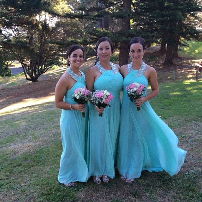 Long Mint Green Bridesmaid Dresses Halter Neckline Beaded Sequins