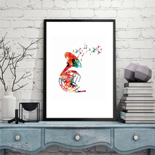 HAOCHU Colorful Silhouette of French Horn Wall Picture Abstract Geometric Musical Instrument Canvas Painting Wall Art Home Decor