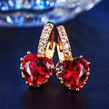 Red AAA Zirconia  Heart-shaped stud earrings yellow gold plated  vintage wedding women bijoux Accessories wholesale MYE014