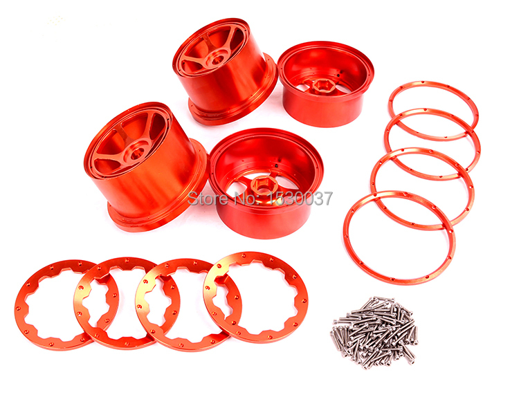 Moyeu de roue avant et arrière en métal CNC (x4pcs) pour Baja 5B, argent/orange choisir