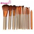 Mileegirl 12 Unids/set Completo Profesional Maquillaje Pinceles Set Kit Fundación Sombra de Ojos En Polvo Ceja Pinceaux Maquill compone el Cepillo